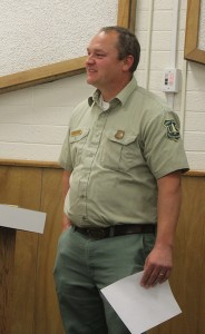 United States Forest Pine Valley District Ranger, Joe Rechsteiner, talks with the commissioners about current grazing data in the area, Washington County Administration Building, St. George, Utah, Jan. 20, 2015 | Photo by Devan Chavez, St. George News
