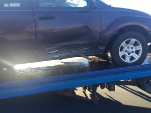Damage to a Dodge SUV involved in an accident on Telegraph Street, Washington, Utah, Jan 2, 2015   Photo by Brett Brostrom, St. George News