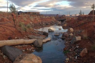 A view of the stream running through the Red HIlls Desert Garden, St. George, Utah, Jan. 13, 2015 | Photo by Brett Brostrom, St. George News