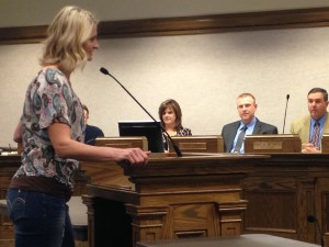 Newly hired sports and recreation director Jennifer Weaver addresses the city council, Cedar City, Utah, Jan. 28, 2015 | Photo by Holly Coombs, St. George News