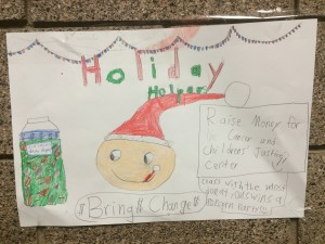 Iron Springs Elementary students created signs to put in jars to collect money to help cancer patients and their families, Valley View Medical Center, Cedar City, Utah, Dec. 2, 2014, | Photo courtesy of Valley View Medical Center, St. George News