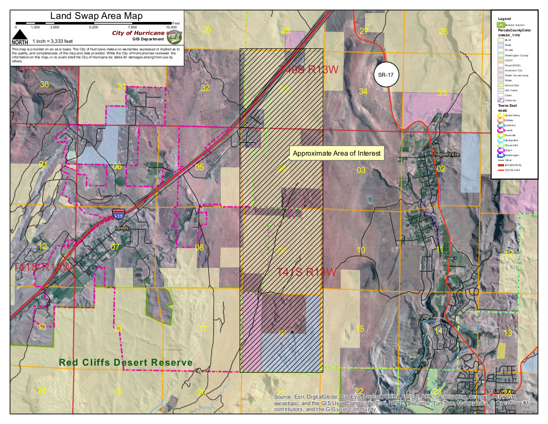 Map of proposed addition of 2,000 acres to the Red Cliffs National Conservation Area.