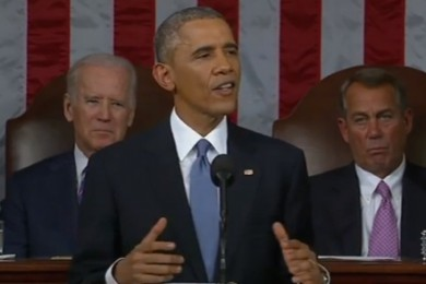 President Barack Obama, State of the Union address, Washington, D.C., Jan. 20, 2015   Photo capture YouTube, St. George News