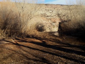 Sediment has filled in the area behind the Shem Dam on the Santa Clara River, Shivwits Reservation, Utah, Jan. 16, 2015   Photo by Julie Applegate, St. George News
