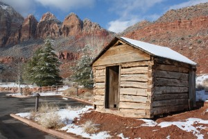 The 1880s Granary structure sits in its new scenic spot behind the Springdale town offices, Springdale, Utah, Jan. 1, 2015| By Reuben Wadsworth, St. George News