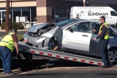 Collision on Sunset Boulevard in St. George, Utah, Jan. 24, 2015 | Photo by Mori Kessler, St. George News