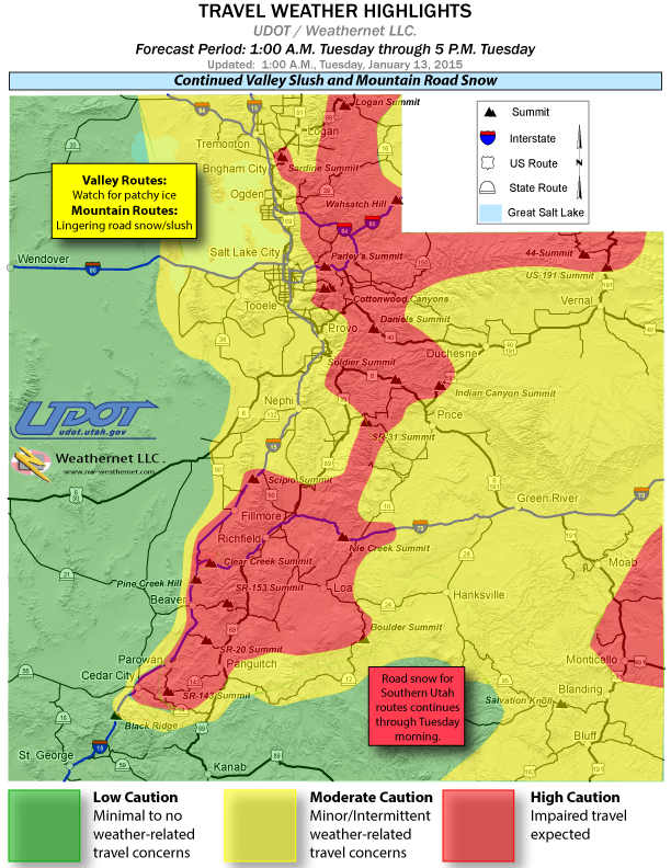 Weather detailed travel advisories for central southern Utah – Travel Map With Weather
