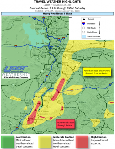 Colors on map donate severity of road conditions updated 1 a.m., Jan. 31, 2015 | Image courtesy of Utah Department of Transportation, St. George News