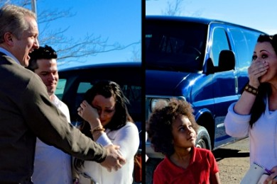 Left photo L-R: Wade Family Foundation Executive  Director Monty Magleby, Ryan and Tiffany McDonald; Right photo L-R: Maliyah McBride, Tiffany McDonald. The McDonalds are surprised with donation of a van to help them with their foster family. Switchpoint Community Resource Center, St. George, Utah, Jan. 23, 2015 | Photo by Candice McMahon, St. George News