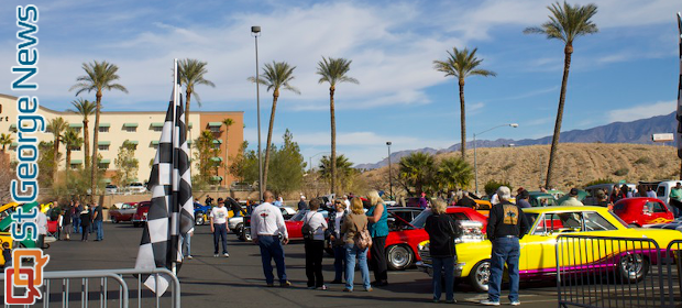 Palm Trees Frame Rainbow Of Classic Cars At Mesquite Motor
