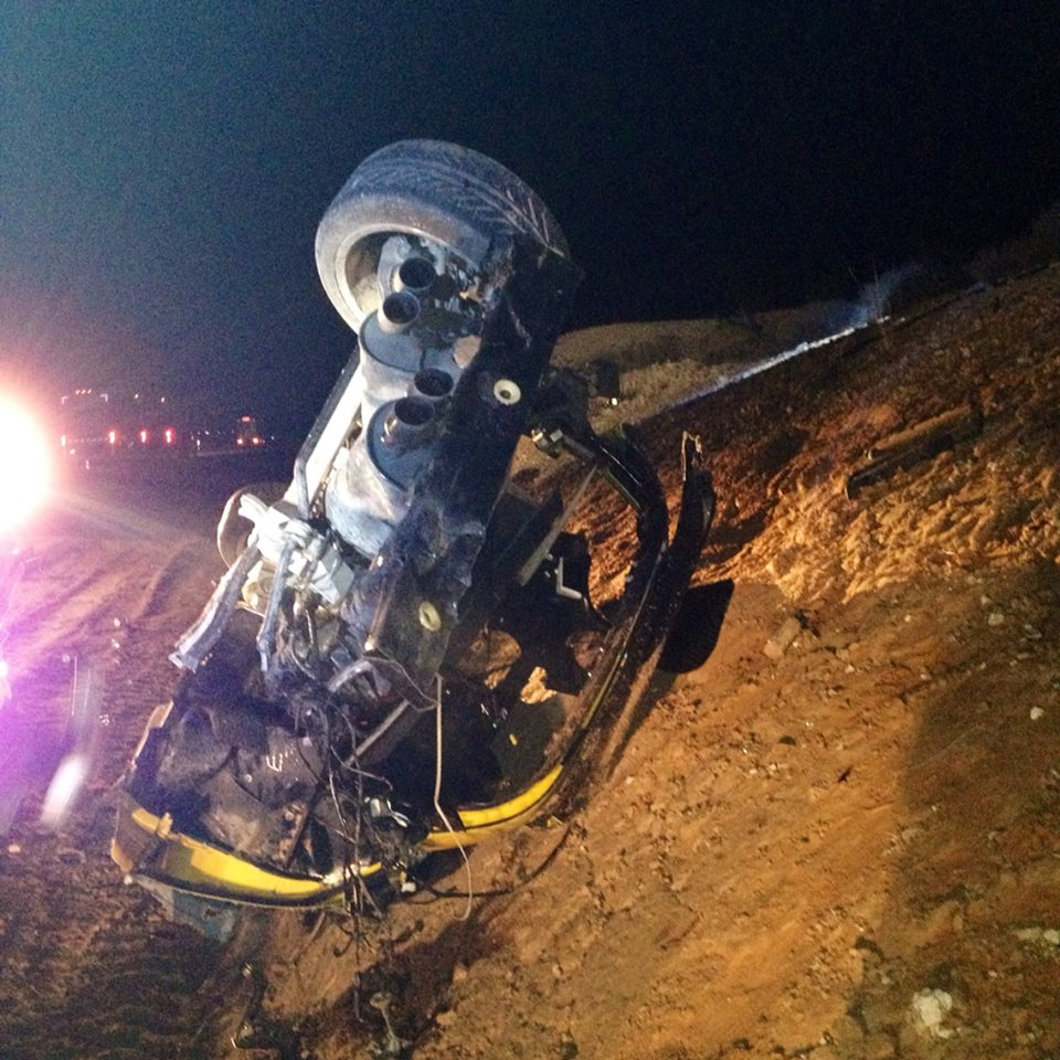 One man is dead following a rollover on northbound Interstate 15 about 4 miles north of Mesquite, Nevada, Jan. 13, 2015 | Photo courtesy of Arizona Department of Public Safety Sgt. John T. Bottoms, St. George News