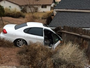 The car driven by a man in his mid-70s after it crashed into a shed on South Dixie Drive, St. George, Utah, Jan. 20, 2015 | Photo courtesy of Melissa Anderson, St. George News