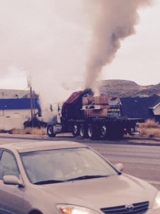 Emergency personnel respond to a runaway diesel engine on River Road, St. George, Utah, Jan. 30, 2015 | Photo courtesy of Dylan Westover, St. George News