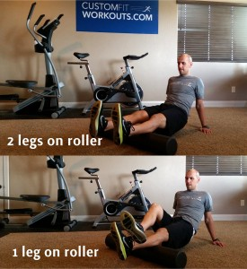Kevin Weston performing the foam rolling on his calves using one and two legs on the foam roller   Image courtesy of Kevin Weston, St. George News