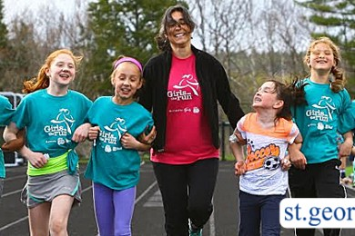 Girls making friends and running with a leader during their participation in the Girls on the Run program, location and date unspecified | Photo courtesy of Girls on the Run, St. George News