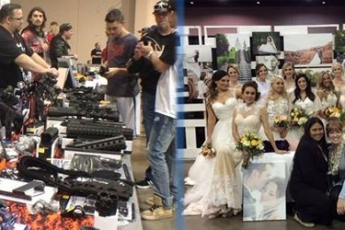 Crossroads of the West Gun Show and the Southern Utah Wedding Showcase share a venue at the Dixie Center, St. George, Utah, Jan. 24, 2015 | Photos by Holly Coombs, St. George News