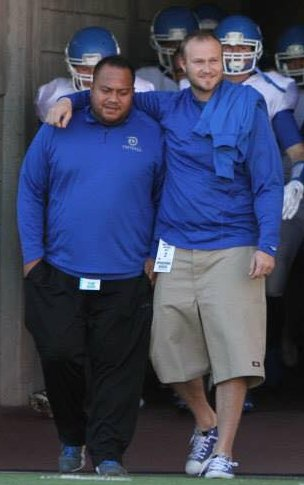 Andy Stokes (right) with friend and fellow coach Wayne Alofipo st the state championship in Salt Lake City. | Photo courtesy Wayne Alofipo