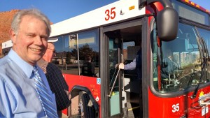 Ivins City Mayor Chris Hart about the get on the bus for a tour of the newly established Suntran Ivins bus route, Ivins, Utah, Jan. 21, 2015   Photo by Mori Kessler, St. George News