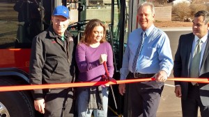 About the cut the ribbon. (R-L) Ivins City Councilman Shane McDonald, Ivins resident Traci McDonald, Ivins Mayor Chris Hart, St. George Mayor Jon Pike, Ivins, Utah, Jan. 21, 2015 | Photo by Mori Kessler, St. George News