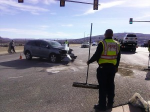 The aftermath of the collision that occurred between two SUVs near 1470 S. Bluff Street in St. George, Utah, Jan. 4, 2015 | Photo by Aspen Stoddard, St. George News