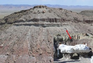 Cropped image shows the size of the sandstone rock in comparison to the around 800 foot mesa, Utah, date unspecified | Photo courtesy of James Kirkland, St. George News