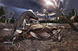 Artistic interpretation of the Utahraptor and  iguanodont by Julius Csotonyi | Image courtesy of James Kirkland, St. George News