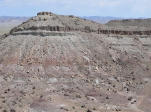 The around 800 foot mesa where the dinosaur skeleton mass was uncovered, Utah, date unspecified | Photo courtesy of James Kirkland, St. George News