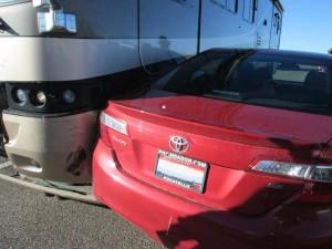 Toyota Corolla collides with a motor home, Beaver, Utah, Feb. 10, 2015 | Photo courtesy of Utah Highway Patrol, St. George News