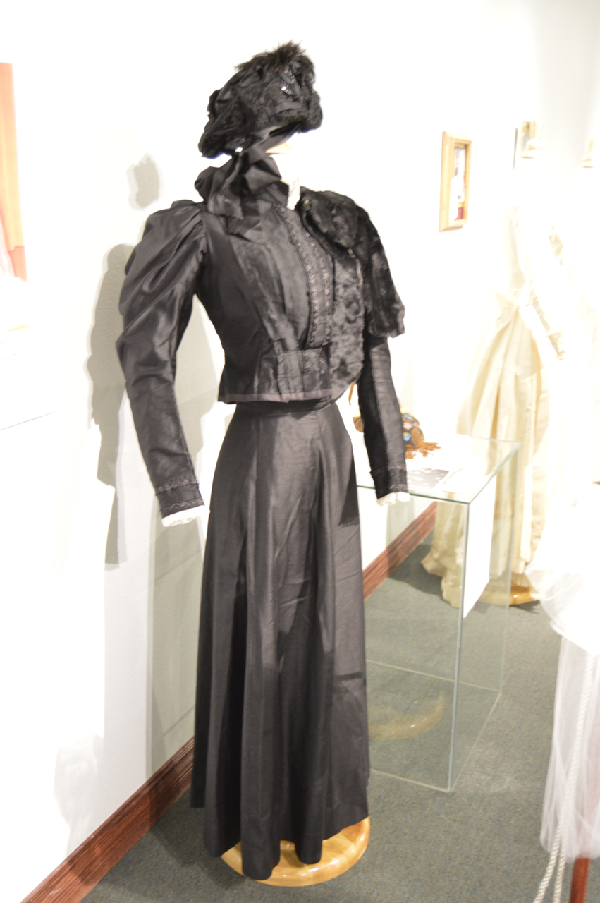 """Wedding dress worn by Margaretha Fuhrer Schlappi in 1855 on display at the """"Here Comes the Gown: 150 Years of Wedding Dresses"""" exhibit at the St. George Art Museum, St. George, Utah, Feb. 7, 2015 