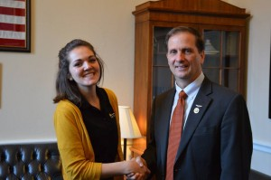 Washington County Youth Coalition President Abigal Dickie shakes hands with Rep. Chris Stewart during a Community Anti-Drug Coalitions of America conference, Washington, D.C., circa February 2015 | Photo courtesy of Logan Reid