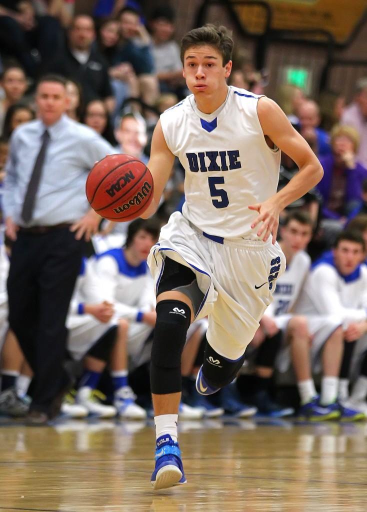 Tyler Bennett (5), file photo from Snow Canyon vs. Dixie, Boys Basketball, St. George, Utah, Feb. 11, 2015 | Photo by Robert Hoppie, ASPpix.com, St. George News