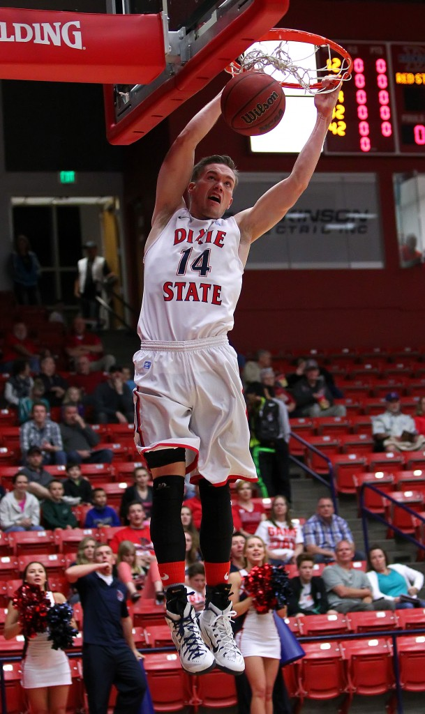 Red Storm F Robbie Nielson (14) with a dunk early in the game, Dixie State University vs. Hawaii Pacific University, Men's Basketball, St. George,  Utah, Feb. 16, 2015 | Photo by Robert Hoppie, ASPpix.com, St. George News