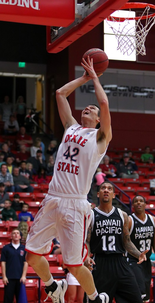 Zach Robbins (42) shoots in the paint for the Red Storm, Dixie State University vs. Hawaii Pacific University, Men's Basketball, St. George,  Utah, Feb. 16, 2015 | Photo by Robert Hoppie, ASPpix.com, St. George News