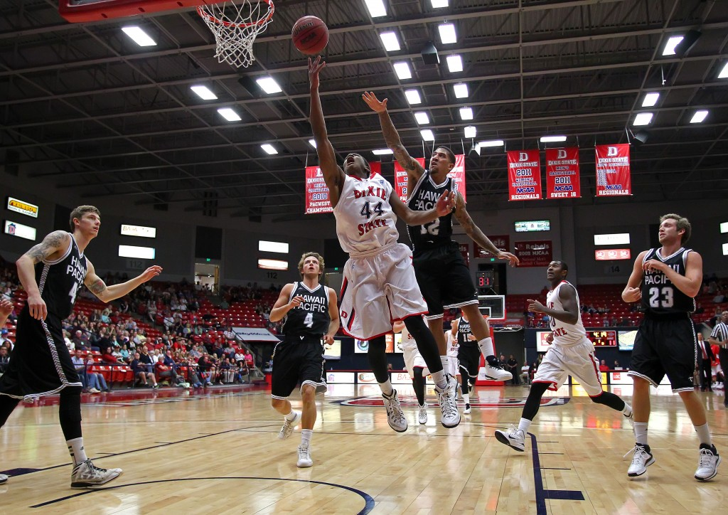 Trevor Hill (44) drives to the hoop, Dixie State University vs. Hawaii Pacific University, Men's Basketball, St. George,  Utah, Feb. 16, 2015 | Photo by Robert Hoppie, ASPpix.com, St. George News