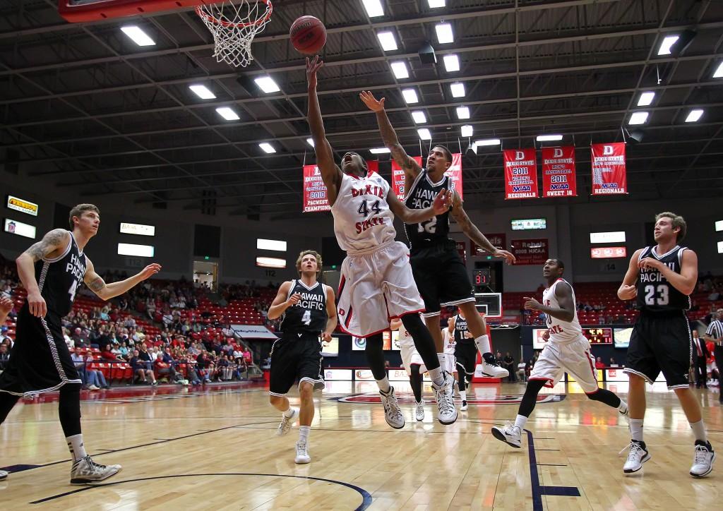 Trevor Hill (44) drives to the hoop, Dixie State University vs. Hawaii Pacific University, Men's Basketball, St. George,  Utah, Feb. 16, 2015 | Photo by Robert Hoppie, ASPpix.com, St. George News
