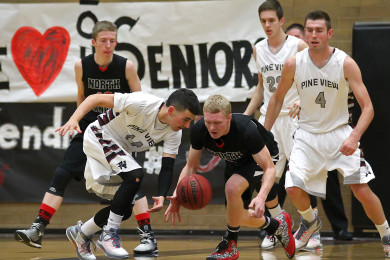 North Sanpete vs. Pine View, Boys Basketball, St. George,  Utah, Feb. 20, 2015 | Photo by Robert Hoppie, ASPpix.com, St. George News
