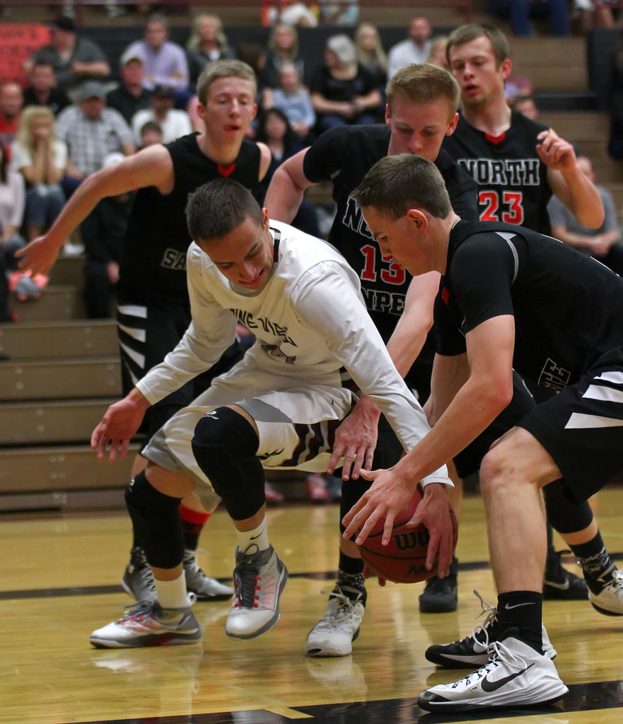 Jed Newby grabs a loose ball for the Panthers, North Sanpete vs. Pine View, Boys Basketball, St. George,  Utah, Feb. 20, 2015 | Photo by Robert Hoppie, ASPpix.com, St. George News