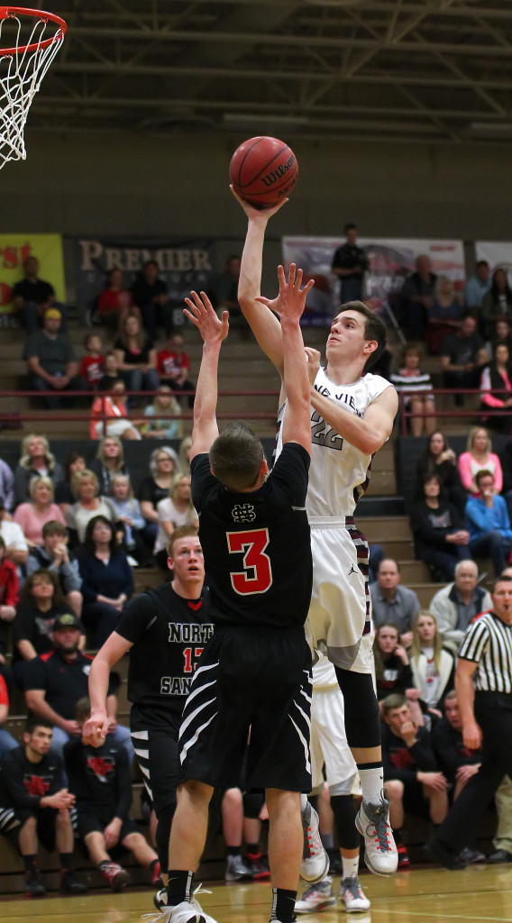 Cody Ruesch takes a shot over a North Sanpete player, North Sanpete vs. Pine View, Boys Basketball, St. George,  Utah, Feb. 20, 2015 | Photo by Robert Hoppie, ASPpix.com, St. George News