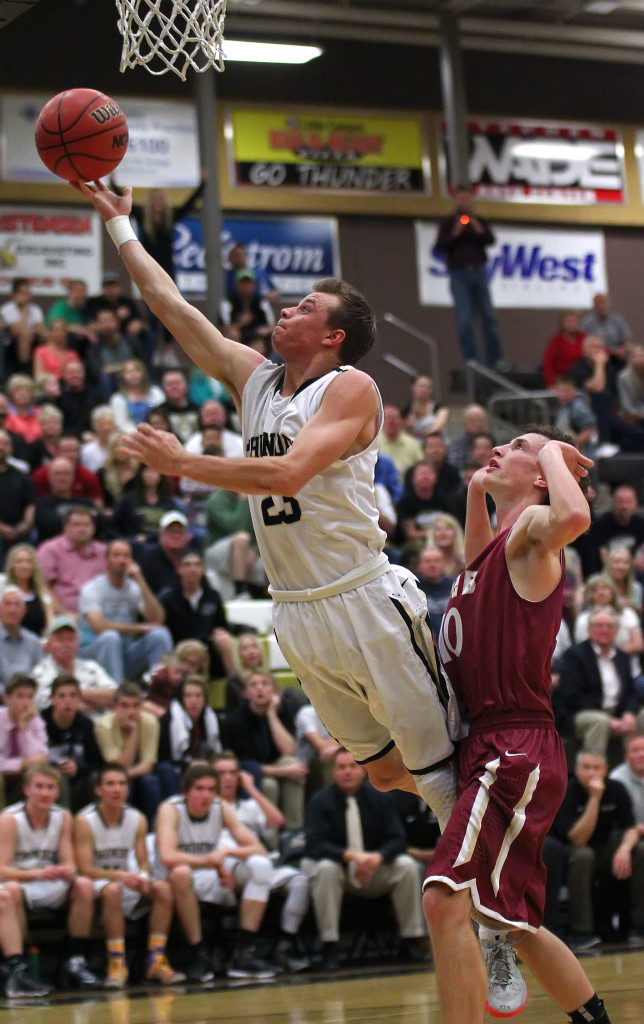 Max Mills with a layup after making a steal in the backcourt, Juab vs. Desert Hills, Boys Basketball, St. George,  Utah, Feb. 20, 2015   Photo by Robert Hoppie, ASPpix.com, St. George News