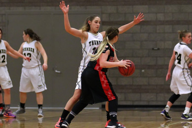 North Sanpete vs. Desert Hills, Girls Basketball, St. George,  Utah, Feb. 21, 2015 | Photo by Rober Hoppie, ASPpix.com, St. George News