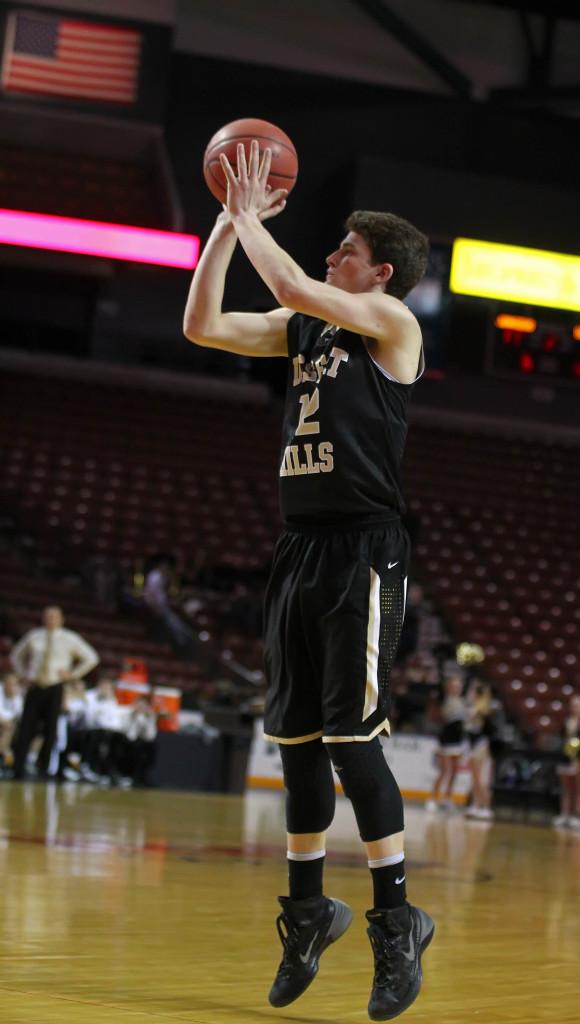 Marcus McKone fires up a 3-point attempt, Desert Hills vs. Juan Diego, 3A State Basketball Tournament, Salt Lake City, Utah, Feb. 26, 2015   Photo by Robert Hoppie, ASPpix.com, St. George News