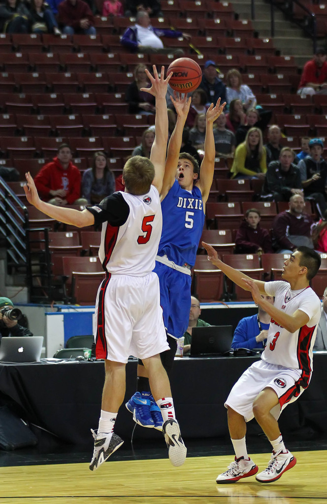 Tyler Bennett (5) launches a last second 3-pointer to win the game for the Flyers, Dixie vs. Bear River, 3A State Basketball Tournament, Salt Lake City, Utah, Feb. 26, 2015 | Photo by Robert Hoppie, ASPpix.com, St. George News