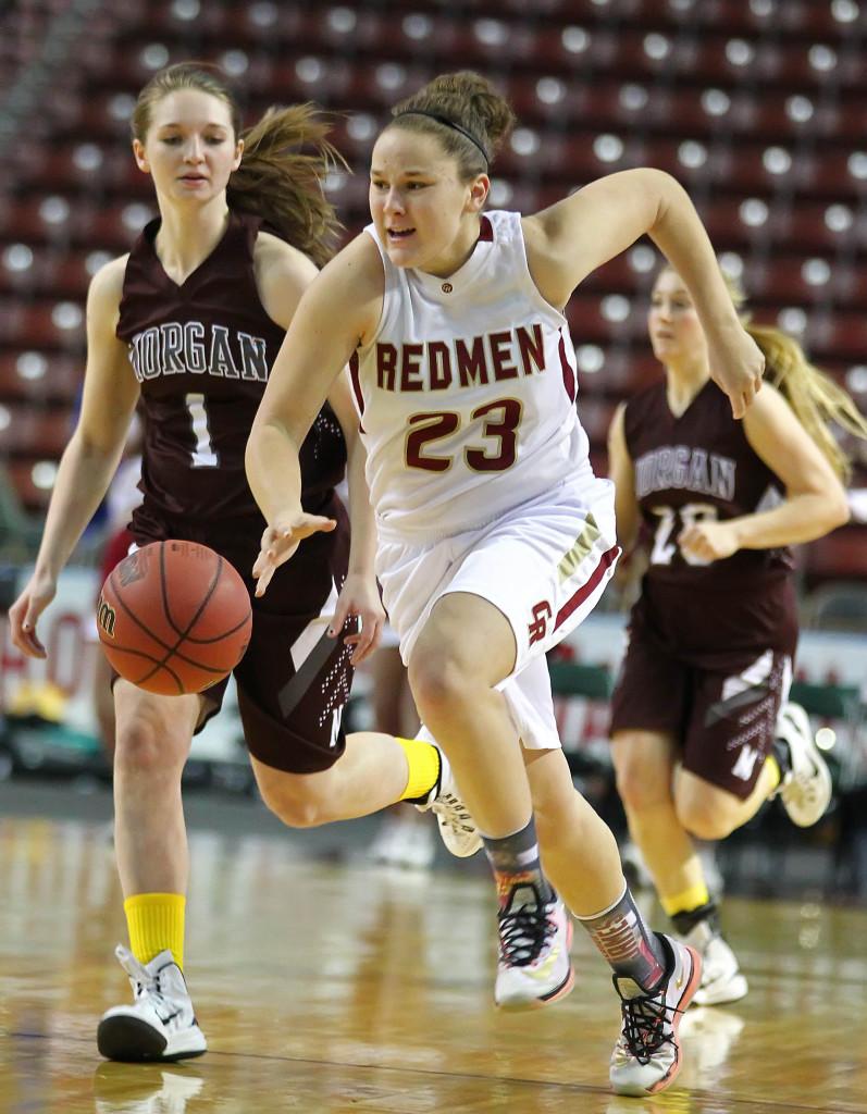 Courtney Morley (23) hustles up court on a fast break for Cedar, Cedar vs. Morgan, 3A State Basketball Tournament, Salt Lake City, Utah, Feb. 26, 2015 | Photo by Robert Hoppie, ASPpix.com, St. George News