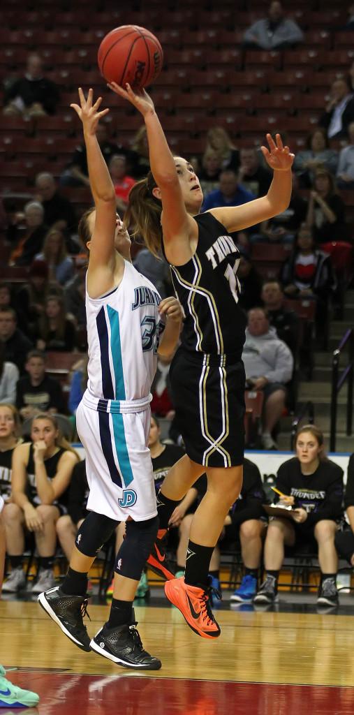 Kenzie Done with a layup, Juan Diego vs. Desert Hills, 3A State Basketball Tournament, Salt Lake City, Utah, Feb. 26, 2015 | Photo by Robert Hoppie, ASPpix.com, St. George News