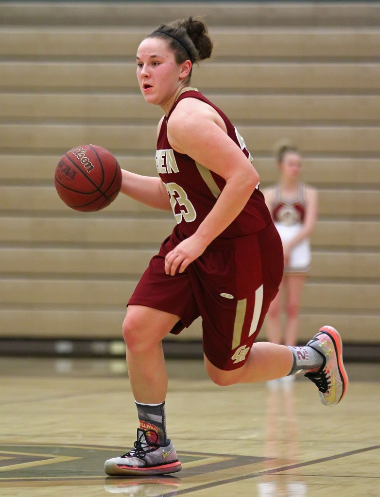 Courtney Morley on a fast break for the Lady Reds, Cedar vs. Snow Canyon, Girls Basketball, St. George, Utah, Feb. 3, 2015   Photo by Robert Hoppie, ASPpix.com, St. George News