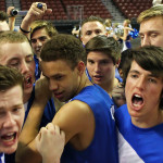 Dixie celebrates their four overtime victory that propels them in to the state championship game, Desert Hills vs. Dixie, 3A State Basketball Tournament, Salt Lake City, Utah, Feb. 27, 2015 | Photo by Robert Hoppie, ASPpix.com, St. George News