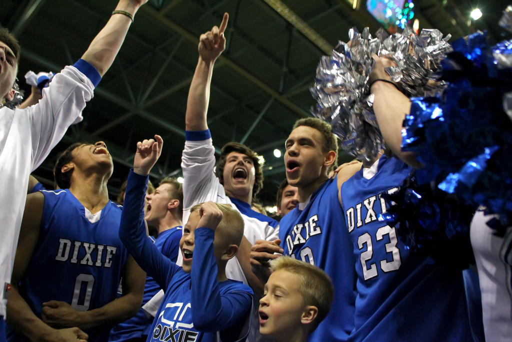 Dixie celebrates their semifinal win, Desert Hills vs. Dixie, 3A State Basketball Tournament, Salt Lake City, Utah, Feb. 27, 2015   Photo by Robert Hoppie, ASPpix.com, St. George News