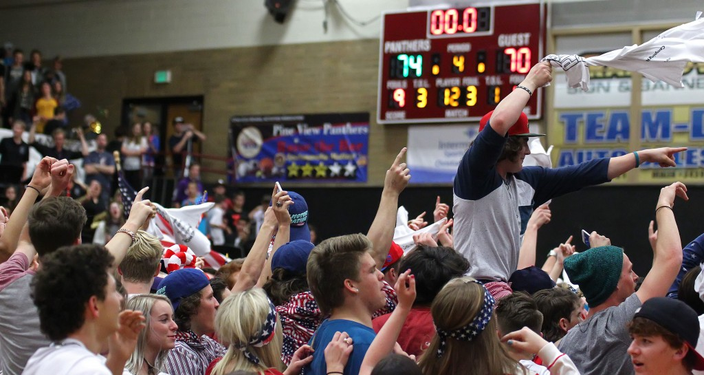 Pine View fans celebrate their team's victory over the Thunder, Desert Hills vs. Pine View, Boys Basketball, St. George, Utah, Feb. 4, 2015 | Photo by Robert Hoppie, ASPpix.com, St. George News