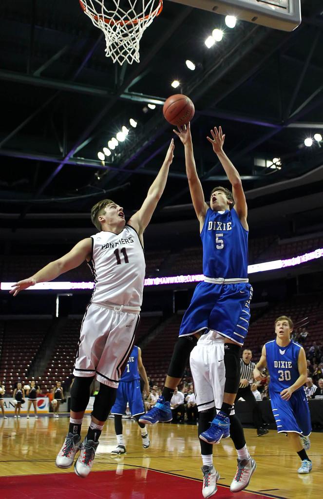 Tyler Bennett (5) with a shot over Blake Ence (11), Pine View vs. Dixie, 3A State Basketball Championship, Salt Lake City, Utah, Feb. 28, 2015   Photo by Robert Hoppie, ASPpix.com, St. George News