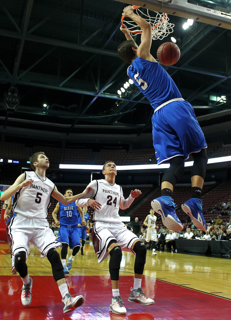 Tyler Bennett (5) with a big dunk in the second half of the contest, Pine View vs. Dixie, 3A State Basketball Championship, Salt Lake City, Utah, Feb. 28, 2015 | Photo by Robert Hoppie, ASPpix.com, St. George News